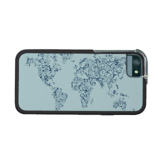Map of the World Map Floral Swirls Case For iPhone 5