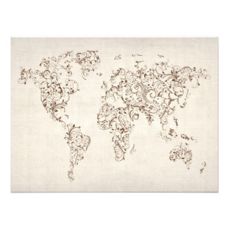 Map of the World Map Floral Swirls Photo Print