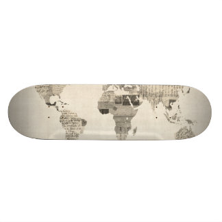 Map of the World Map from Old Postcards Skateboard Decks