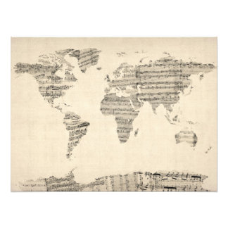 Map of the World Map from Old Sheet Music Photographic Print