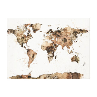 Map of the World Map Sepia Watercolor Canvas Print