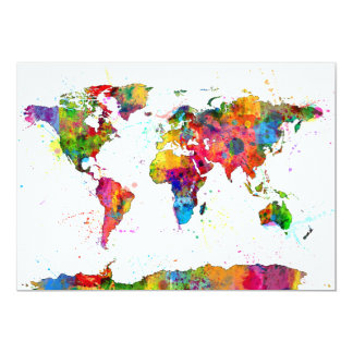 Map of the World Map Watercolor 13 Cm X 18 Cm Invitation Card