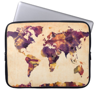 Map of the World Map Watercolor Painting Laptop Computer Sleeve