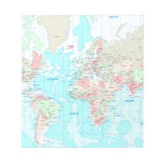 Map of the world notepad