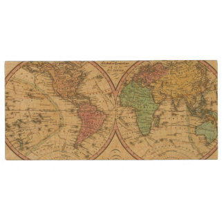 Map Of The World on the Globular Projection Wood USB 2.0 Flash Drive