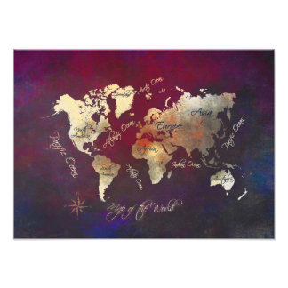 map of the world photo print