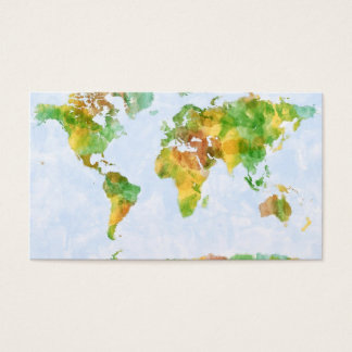 Map of the World Watercolour