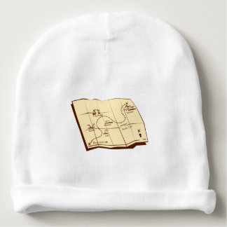 Map of Trail with X Marks The Spot Woodcut Baby Beanie