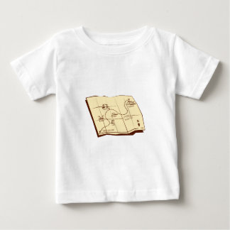 Map of Trail with X Marks The Spot Woodcut Baby T-Shirt