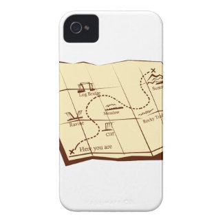Map of Trail with X Marks The Spot Woodcut iPhone 4 Cases