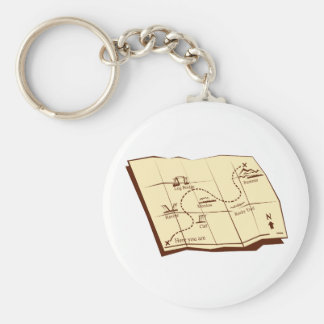 Map of Trail with X Marks The Spot Woodcut Key Ring