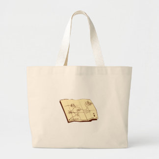 Map of Trail with X Marks The Spot Woodcut Large Tote Bag