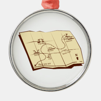 Map of Trail with X Marks The Spot Woodcut Metal Ornament