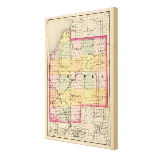 Map of Tuscola County, Michigan Canvas Prints