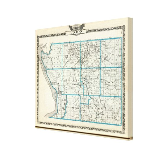 Map of Union County Stretched Canvas Print