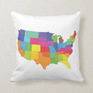map of united states of america cushion