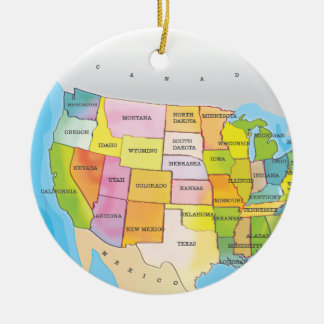 Map of USA States Ceramic Ornament