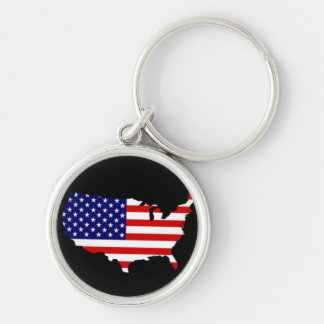 Map of USA with Stars and Stripes Silver-Colored Round Key Ring