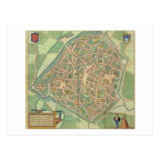 Map of Valencia, from 'Civitates Orbis Terrarum' b Postcard