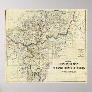 Map of Venango County Oil Regions Poster