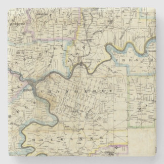 Map of Venango County Oil Regions Stone Coaster
