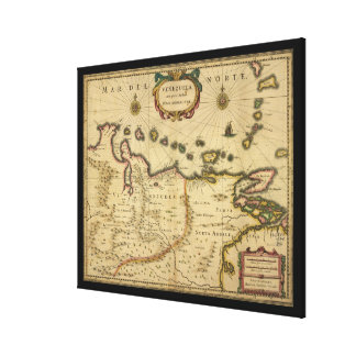 Map of Venezuela by Hendrik Hondius (1630) Canvas Prints