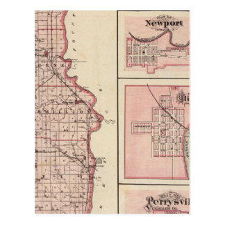 Map of Vermillion County with Newport Postcard