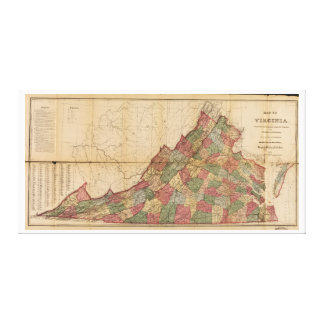 Map of Virginia (1871) Stretched Canvas Prints