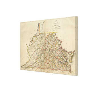 Map of Virginia Stretched Canvas Prints