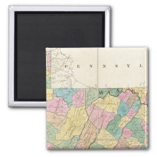 Map of Virginia, Maryland and Delaware Square Magnet