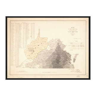 Map of Virginia Slave Population (1860) Canvas Print