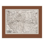Map of W. States &Trans Pacific RR,1867- Br Mat Poster