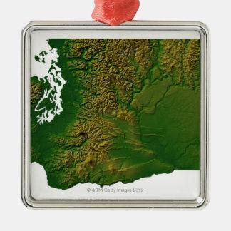Map of Washington 3 Metal Ornament