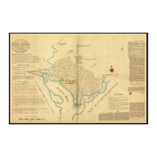 Map of Washington D.C. (1791) Gallery Wrap Canvas