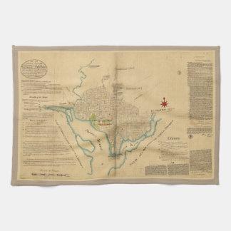 Map of Washington D.C. (1791) Tea Towel