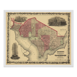 Map of Washington DC and Georgetown 1862 Poster