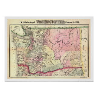 Map of Washington Territory by JK Gill 1878 Poster