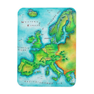 Map of Western Europe Magnet