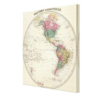 Map of Western Hemisphere Canvas Print