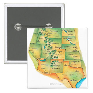 Map of Western United States 15 Cm Square Badge
