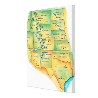 Map of Western United States Gallery Wrap Canvas