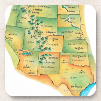 Map of Western United States Drink Coaster