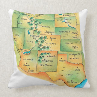 Map of Western United States Pillow