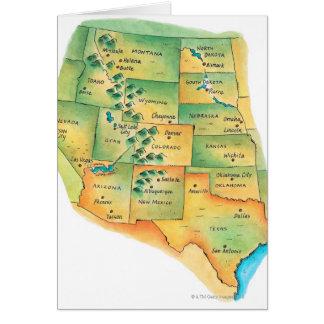 Map of Western United States Greeting Card