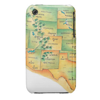 Map of Western United States iPhone 3 Case-Mate Cases