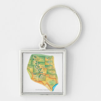 Map of Western United States Keychains