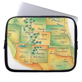 Map of Western United States Computer Sleeve