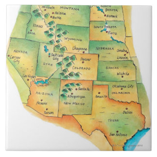 Map of Western United States Large Square Tile