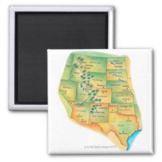 Map of Western United States Fridge Magnets