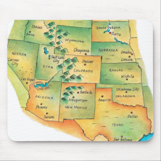 Map of Western United States Mouse Pads